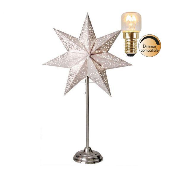 Antique hvit 55cm Stjerne på fot Inkl. Lyskilde
