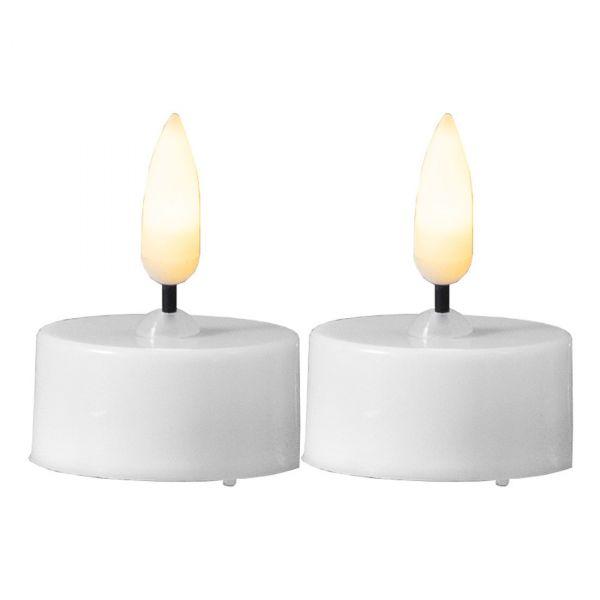 LED Varmelys 2-pakks Flamme 5cm hvit
