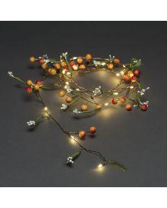 Dekorationsslinga med Bär Blommor 20 Varmvita LED timer 6h Batteri från Konstsmide