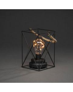 Fyrkantig Metallanterna 19cm Med 9 Amber LED Timer 6H Batteri från Konstsmide