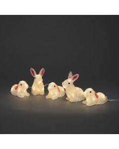 Kaniner Akryl Klara 5st 40 Varmvita LED IP44 från Konstsmide