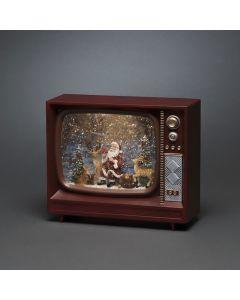 Vattenfylld TV 9cm Tomte Och Ren Musik Timer 5h Batteri från Konstsmide
