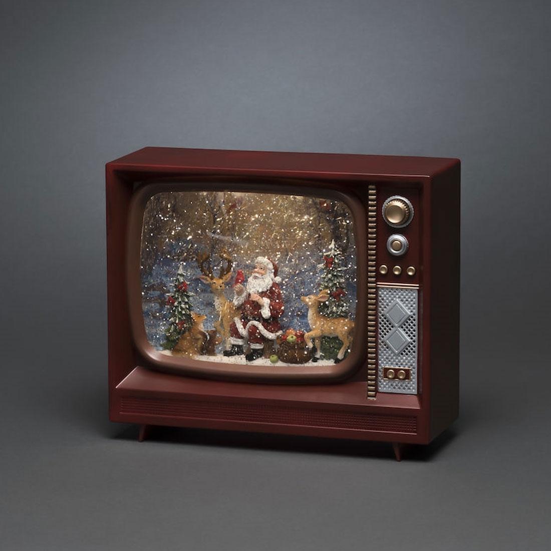 Konstsmide Vannfylt TV 9 cm julenisse og ren Music Timer 5t batteri