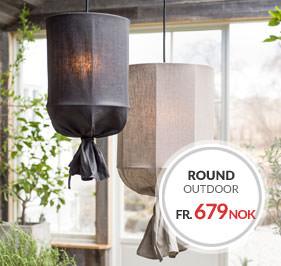 Round Outdoor Taklampe Utendørslampe PR Home