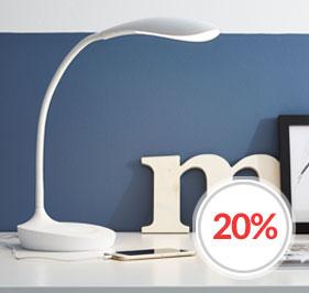Swan skrivebordslampe med USB fra Markslöjd